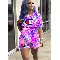 Champion 100th Anniversary Letter Print Casual Two-Piece Set purple