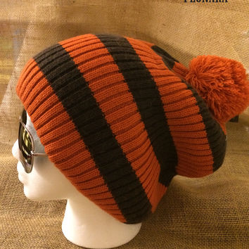 Ribbed 2ply Stripe Chunky Stretch Knit Winter Baggy Beanie