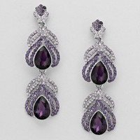Evening Double Drop Crystal Earrings Purple