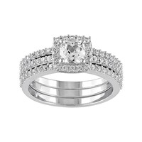 Lab-Created White Sapphire Frame Engagement Ring Set in Sterling Silver