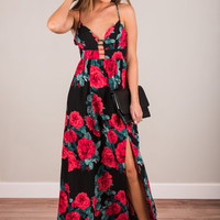 Promised Romance Maxi Dress, Black-Red