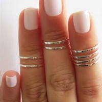 Skinny Thin Knuckle Midi Ring - Set of 8 ( FREE US shipping)