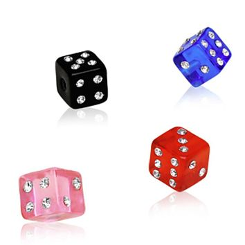 10pcs UV Coated Acrylic Gemmed Dice Ball Package