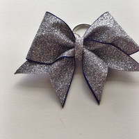 Blue Rimmed Glitter Keychain Bow