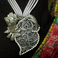 Portuguese Heart Viana filigree necklace Marcasites silver Portugal silver jewelry rhinestones art