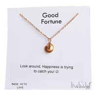 Tiny Gold Fortune Cookie Necklace with a Fortune message Gold filled chain Lucky, good luck charm, cute jewelry gift idea, stocking stuffer