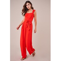 Red Wide Leg Jumpsuit - Final Sale