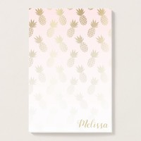 Gold Pineapple Pattern Post-it Notes