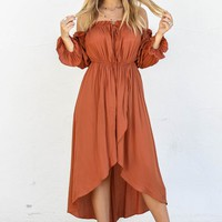 Out And About Caramel Off The Shoulder Maxi Dress