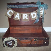 CUSTOM Wooden Card Box Trunk Burlap Banner Sign Thank You Country Chic Wedding Reception