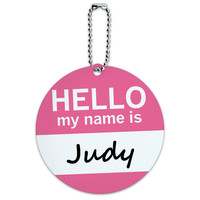 Judy Hello My Name Is Round ID Card Luggage Tag