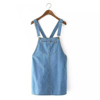 Tangada Fashion Women Elegant School Style Spaghetti Strap Denim Blue Pocket Dress Overalls Sleeveless Casual Dresses XC53