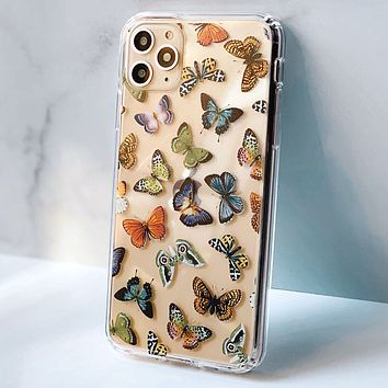 Colorful Butterflies Clear Phone Case