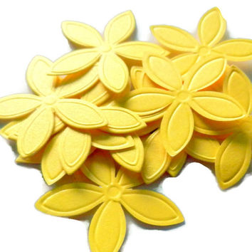 35 Yellow Punched Flowers, Die cut, Embellishment