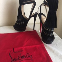 Christian Louboutin Black Suede Ankle Strap Platform Sandal in size 37.5