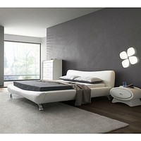 King White Faux Leather Upholstered Platform Bed with Modern Headboard and Metal Legs