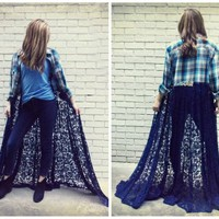 Lace and Flannel Duster, Distressed Flannel Shirt, Boho Chic Duster, Maxi Duster, Hippie Festival Clothing, Upcycled Clothing