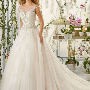 Crystal Beaded Embroidery on Tulle Wedding Dress   Style 2818   Morilee