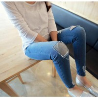 Autumn Pregnant Women Long Jeans Belly for Nursing Clothing Adjustable Pants Distrressed Patch Trousers Maternity Clothes Tights