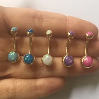 Opal Belly Button Ring Navel Stud Piercing Barbell