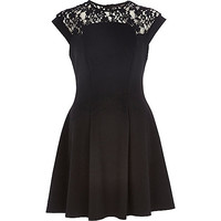 River Island Womens Black lace top skater dress