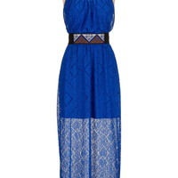 embroidered belt lace maxi dress