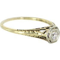 Vintage Art Deco European Diamond Ring Filigree 14k Gold Estate Fine Jewelry 10.25
