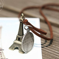The leather cord round card of the Eiffel Tower in Paris coins retro necklace sweater chain [necklace20] - $1.84 : Favorwe.com Supply all kinds of cheap fasion jewelry