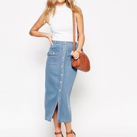 ASOS Denim True Midi Skirt With Patch Pockets