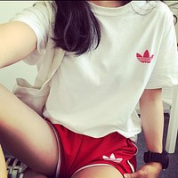 Adidas Summer Sport Set Women's short-sleeved shorts breathable two-piece Red