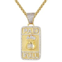 Paid in Full Dollar Bag Dog Tag Pendant