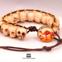 """The Consequences of Smoking Bracelet- Unisex Bracelet- Brown Leather, Bone Beads, and Camel Cigarette """"Vice"""" Button"""