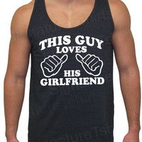 This Guy Loves His Girlfriend TriBlend Mens by signaturetshirts