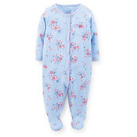 Carter's Girls Baby Blue Floral Printed Easy Entry Interlock Footie