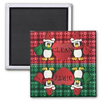 Cute Adorable Christmas Penguins 2 Inch Square Magnet