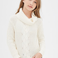 Cable Knit Turtleneck Sweater (Kids)