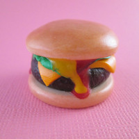 Mini 18 inch American Girl Doll Food - INCREDIBLY REALISTIC Cheeseburger with lettuce, ketchup and mustard by Katie's Craftations!