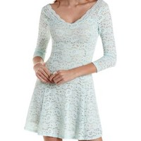 Light Blue Scalloped Lace Skater Dress by Charlotte Russe