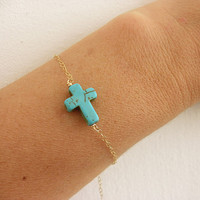 Turquoise Cross Bracelet, Horizontal cross Sideways gold filled or sterling silver Taylor Jacobson Cross bracelet