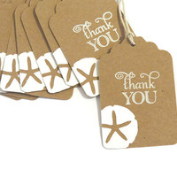 beach wedding favor tags - partyparts sand dollar thank you tags - set of 10