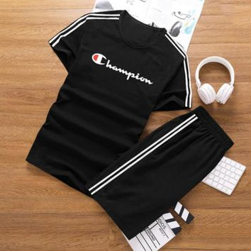 Champion Summer new fashion bust letter print stripe slim women and men short-sleeved T-shirt shorts casual sports two piece suit Black
