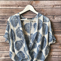 Palm Print Cross Over Top (Blue)