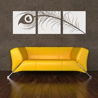 """Peacock Feather Triptych Wall Decal 18"""" x 5.75"""" Turquoise"""