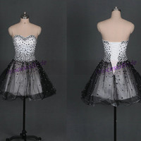 2014 short black tulle homecoming dress with crystals,best cute sweetheart gowns for party hot,discount prom dresses on sale.
