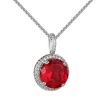 """Red Ruby CZ Pendant Silver Tone Hip Hop Custom Round Solitaire Free 24"""" Chain"""