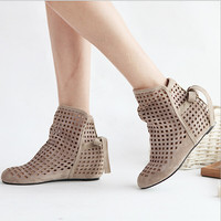 Big Size Low Hidden Wedges Cutout Ankle Boot