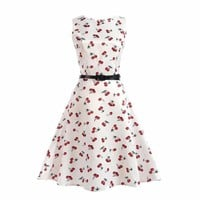 White with Red Cherries Print Audrey Party Dress