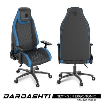 Atlantic Dardashti Gaming Chair - Commercial Grade, BIFMA X5.1 Tested, Next-Gen Ergonomic, Race Car Inspired Black with Blue Accent, PN78050355