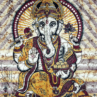 Batik Ganesha Tapestry Lord Ganesh Tapestries Indian God Ganesha Wall hanging Hippy Twin Bedspread Hippie Bedsheet Curtain Beach Cover Decor