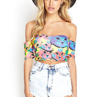 FOREVER 21 Cat Print Crop Top Blue/Red
